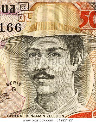 NICARAGUA - CIRCA 1985: Benjamin Zeledon (1879-1912) on 5000 Gordobas 1985 Banknote from Nicaragua. Lawyer, politician & Nicaraguan military awarded the posthumous title of National Hero of Nicaragua.