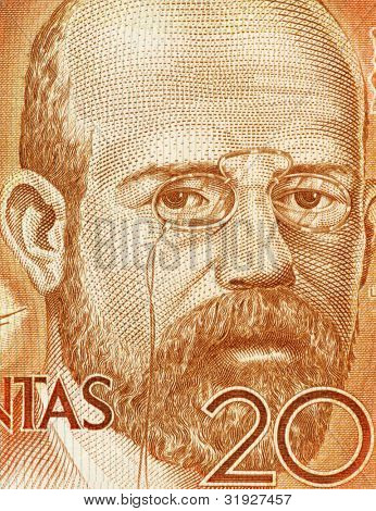 SPAIN - CIRCA 1980: Leopoldo Alas aka Clarin (1852-1901) on 200 Pesetas 1980 Banknote From Spain. Asturian realist novelist born in Zamora.