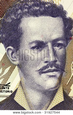 ECUADOR - CIRCA 1999: Juan Montalvo (1832-1889) on 5000 Sucres 1999 Banknote from Ecuador. Ecuadorian author and essayist.