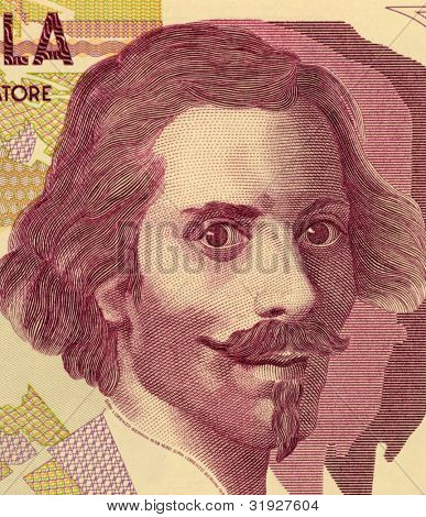 ITALY - CIRCA 1992: Gian Lorenzo Bernini (1598-1680) on 50000 Lire 1992 Banknote from Italy. Italian sculptor, architect and painter.