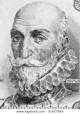SPAIN - CIRCA 1953: Alvaro de Bazan, 1st Marquis of Santa Cruz (1526-1588) on 1 Peseta 1953 Banknote From Spain. Spanish admiral.
