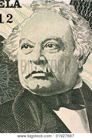 VENEZUELA - CIRCA 1995: Jose Antonio Paez (1790-1873) on 20 Bolivares 1995 Banknote from Venezuela. General in Chief of the army fighting Spain during the Venezuelan Wars of Independence.