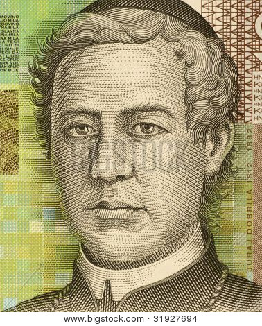 Croácia - por volta de 2001: Juraj Dobrila (1812-1882) em nota 10 de 2001 Kuna da Croácia. Bispo e ser
