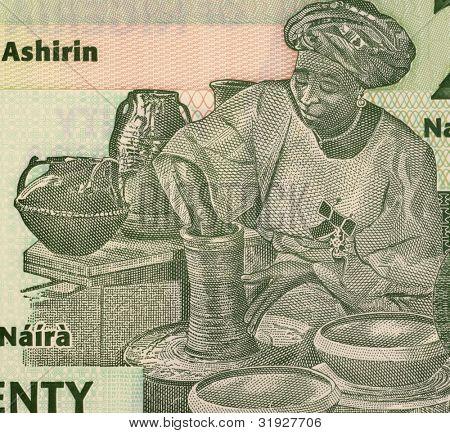 NIGERIA - CIRCA 2009: Potter on 20 Naira 2009 Banknote from Nigeria.