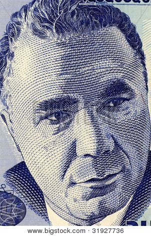 ARMENIA - CIRCA 1998: Viktor Hambardzumyan (1908-1996) on 100 Dram 1998 Banknote from Armenia. Soviet Armenian scientist and one of the founders of theoretical astrophysics.