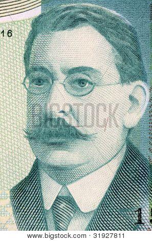 URUGUAY - CIRCA 1986: Jose Enrique Rodo (1871-1917) on 200 Nuevos Pesos 1986 Banknote from Uruguay. Uruguayan essayist.