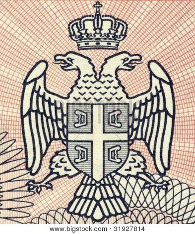 BOSNIA HERZEGOVINA - CIRCA 1993: Serbian Arms on 100000 Dinara 1993 Banknote from Bosnia Herzegovina.