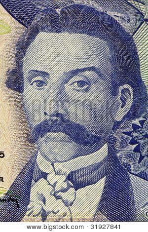 PORTUGAL - CIRCA 1965: Camilo Castelo Branco (1825-1890) on 100 Escudos 1965 Banknote from Portugal. Prolific Portuguese writer.
