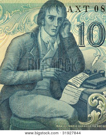 PORTUGAL - CIRCA 1981: Manuel Maria Barbosa du Bocage (1765-1805) on 100 Escudos 1981 banknote from Portugal. Portuguese Neoclassic poet, writing under the pen name Elmano Sadino.