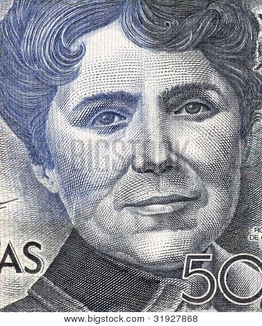 SPAIN - CIRCA 1979: Rosalia de Castro (1837-1885) on 500 Pesetas 1979 Banknote from Spain. Galician romanticist writer and poet.