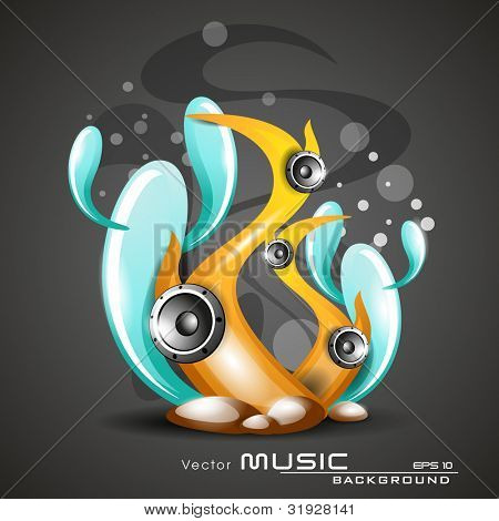 Vector illustration of natural music background with speakers and colorful under water plants on grey background for party and events. EPS 10.