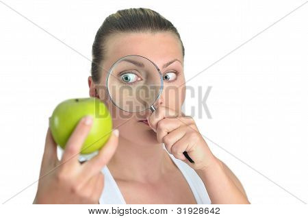 Healthy Blondy Happy Woman Looks Green Apples