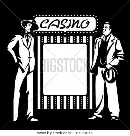 Chicos duros de la mafia en el cartel de casino en blanco