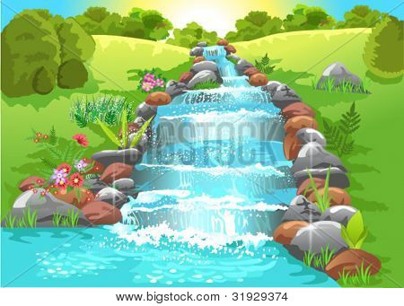 water spring in natural landscape