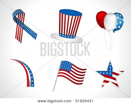 Sets of objects like hat, ballons, ribbons,  flag, batch for Independance Day and other events isolated on white background. EPS 10.