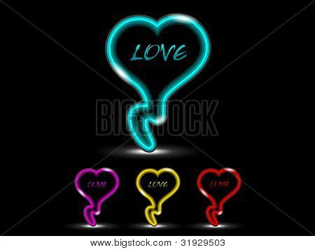 Love icon set with neon effect in green, yellow, red and magenta color over black background. EPS 10. Vector illustration