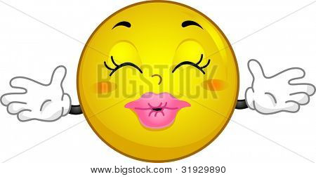 Illustration of a Smiley Offering Hugs and Kisses
