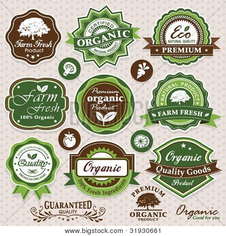 Collection of eco and bio labels, badges and icons