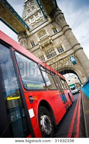 Classic london bus at Tower bridge close up