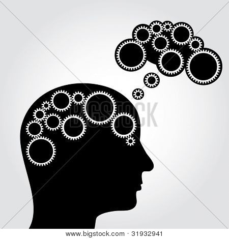 vector abstract illustration of thinking with gears in brain and cloud