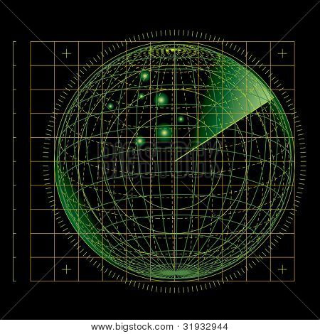 vector illustration of the abstract green radar screen