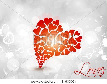Big heart shape made with many red small heart shape on abstract background. EPS 10. can be use as banner, flyer, poster, greeting or gift card.