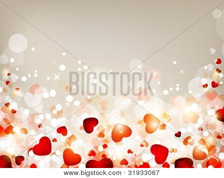 Love background with many heart shapes on shiny background. EPS 10. can be use as banner, flyer, poster, greeting or gift card.
