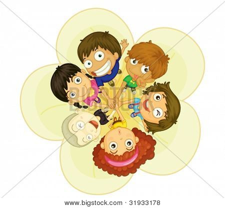 Illustration of group of 6 kids