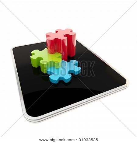 Puzzle pieces on mobile pad screen