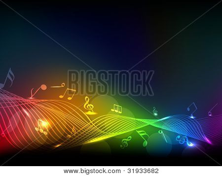 Abstract colorful shiny musical notes or wave background. EPS 10, can be use as flyer, banner or poster for disco parties and other events.