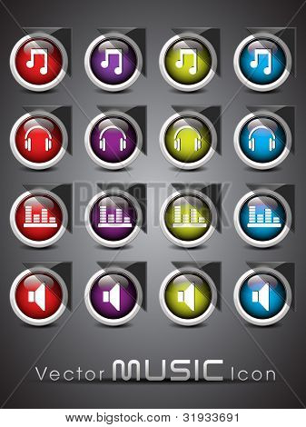 Set of glossy music web 2.0 icons or buttons in red, purple, yellow and blue colors color on transparent background. EPS 10. Vector illustration.