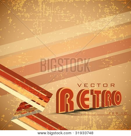 Grungy retro background in light brown color and stripes on the corner.Eps 10. Vector illustration.