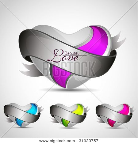 Set of heart shapes in blue, pink, green color with grey shades isolated on grey background. EPS 1-. can be use as tag, sticker, label, button.