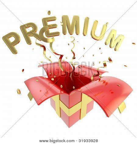 "Word ""premium"" inside a gift box"