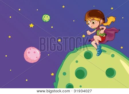 Illustration of flying girl on the moon