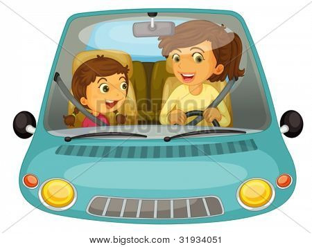 Illustration of mother and daughter driving