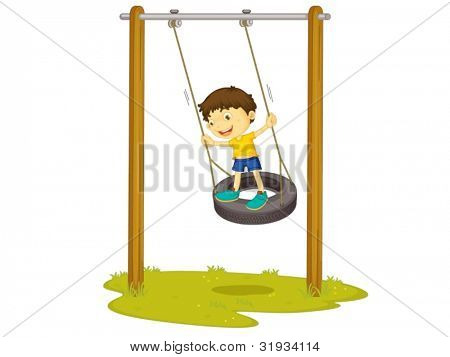 Illustration of a boy on a tyre swing