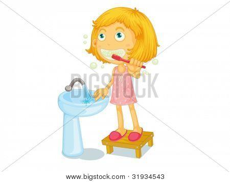 Ilustração de criança escovar os dentes