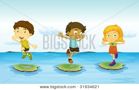Illustration of 3 kids on the water