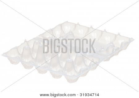 Empty plastic box for eggs on white background