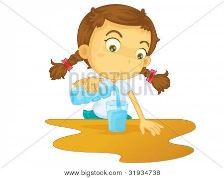 Ilustración de chica vertiendo agua