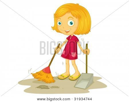 Illustration of a child sweeping