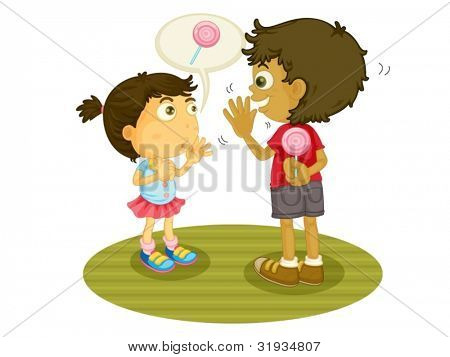 Illustration of some children sharing food