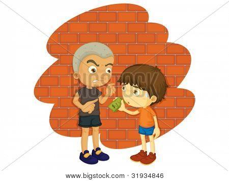 Ilustración de un matón y un niño