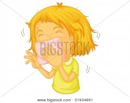 Illustration of a girl sneezing