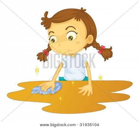 Girl cleaning a table cartoon