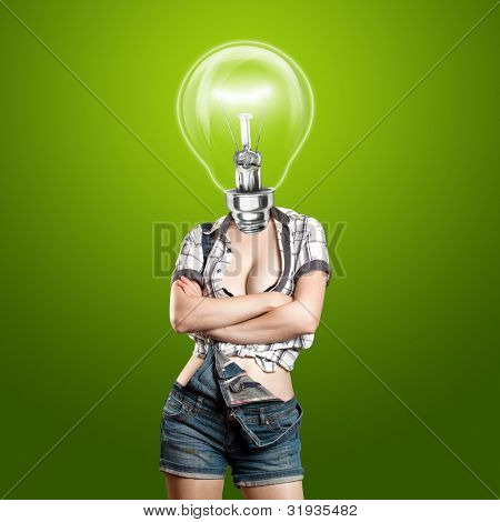 Idea concept, lamp head woman have got an idea
