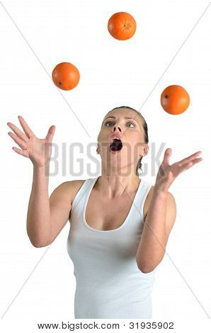 Healthy Blondy Happy Woman Plays Oranges