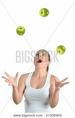 Healthy Blondy Happy Woman Plays Green Apples