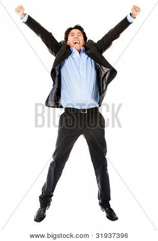Excited business man jumping - isolate over a white background